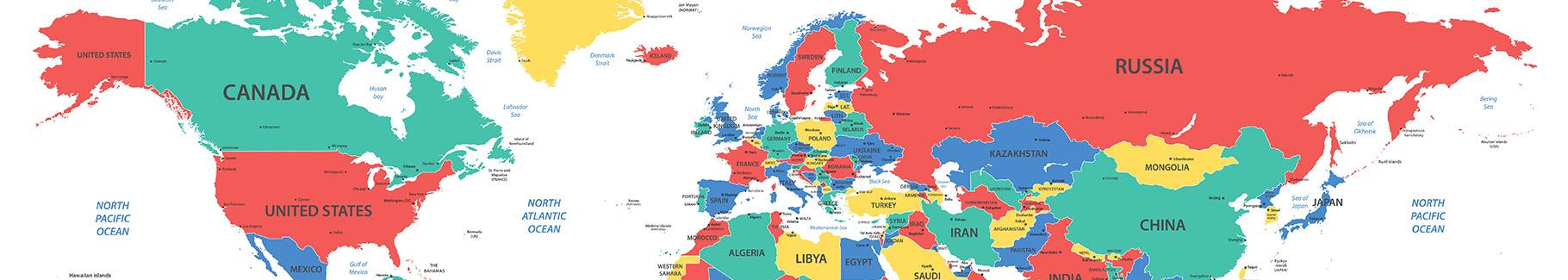 Fototapeta mapa polityczna kolorowa