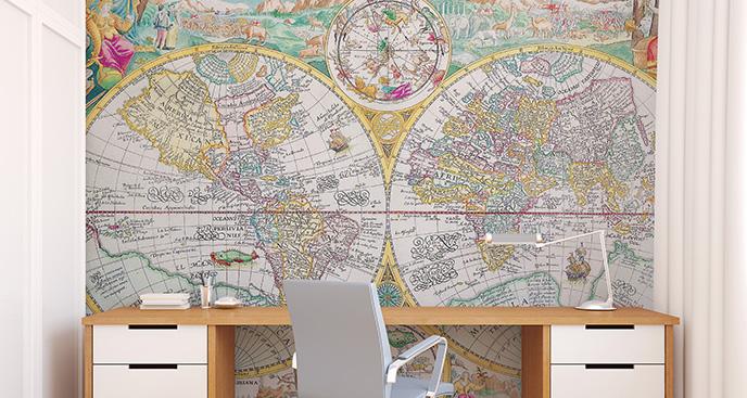 Fototapeta mapa retro dla nastolatka