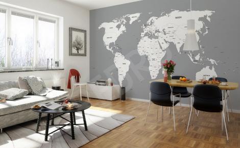 Fototapeta mapa świata czarno-biała