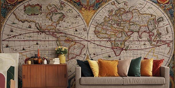 Fototapeta mapa świata na półkulach