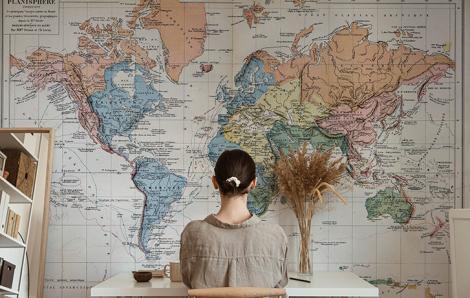 Fototapeta mapa świata w kolorze