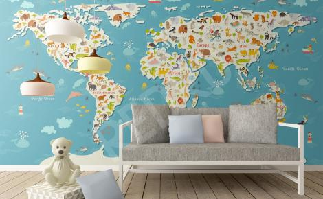 Fototapeta mapa zwierząt do pokoju dziecka