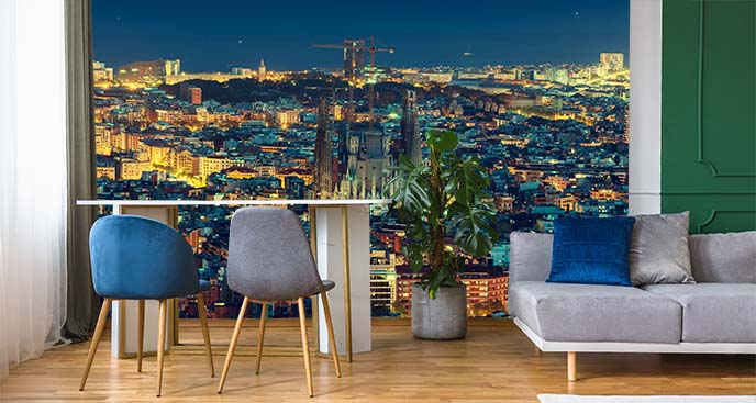 Fototapeta miasta nocą i Barcelona