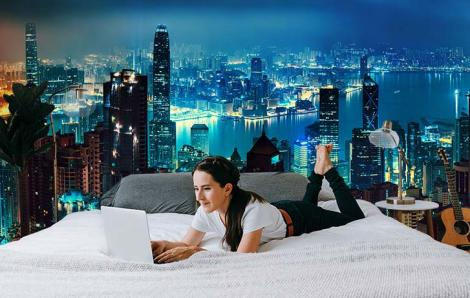 Fototapeta miasta nocą i Hongkong