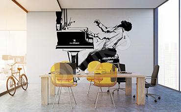 Fototapeta muzyczna z pianistą