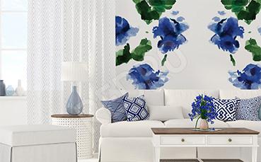 Fototapeta niebieskie kwiaty akwarela