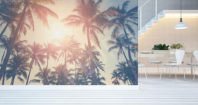 Fototapeta palmy i zachód słońca