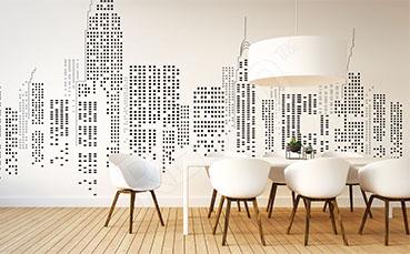 Fototapeta panorama miasta czarno-biała