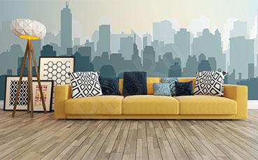 Fototapeta panorama miasta - minimalizm