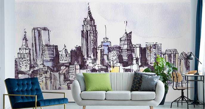 Fototapeta panorama miasta szkic