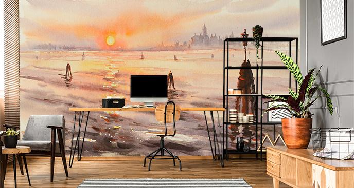 Fototapeta panorama w akwareli