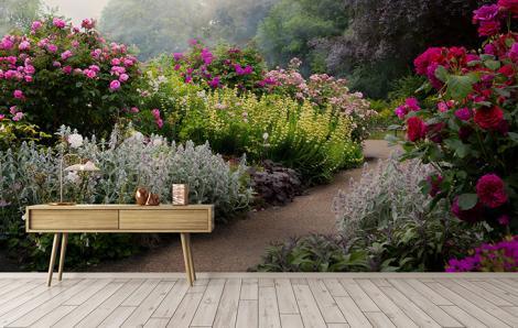 Fototapeta park z kwiatami