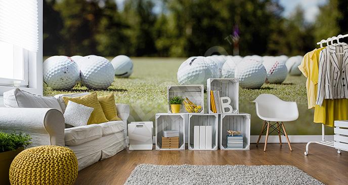Fototapeta piłki golfowe na trawie
