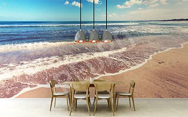 Fototapeta plaża i spienione morze