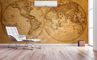 Fototapeta postarzana mapa świata