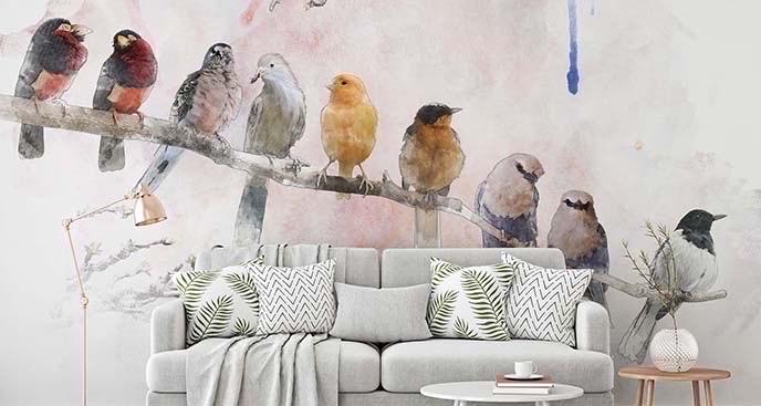 Fototapeta ptaki na gałęzi