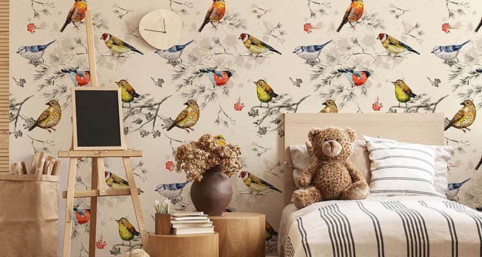 Fototapeta ptaki w akwareli