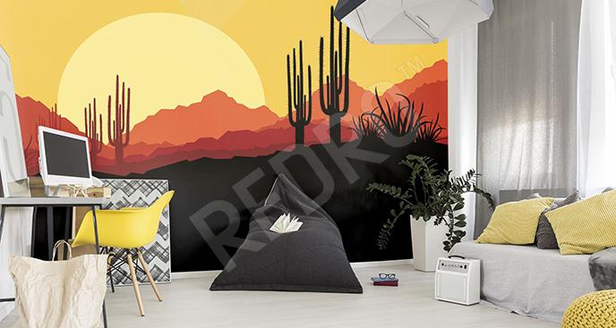 Fototapeta pustynia z kaktusami