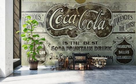 Fototapeta reklama napoju retro