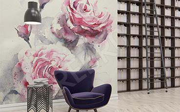 Fototapeta róże malowane akwarelą