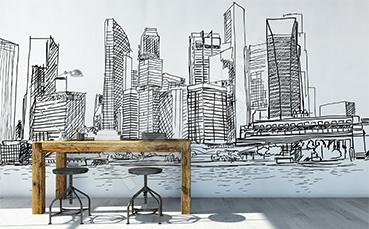 Fototapeta rysunek z wieżowcami