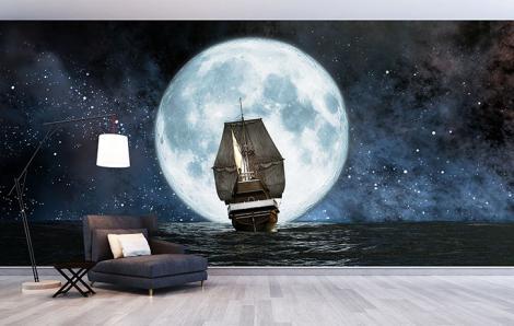 Fototapeta statek na morzu nocą