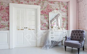 Fototapeta styl rustykalny w kwiaty