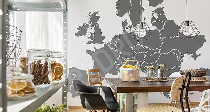 Fototapeta szara mapa Europy