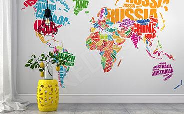 Fototapeta typograficzna mapa świata