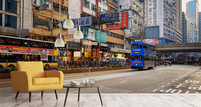 Fototapeta ulica w Hong Kongu