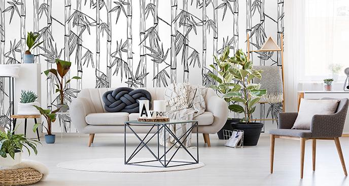 Fototapeta w czerni i bieli z bambusem
