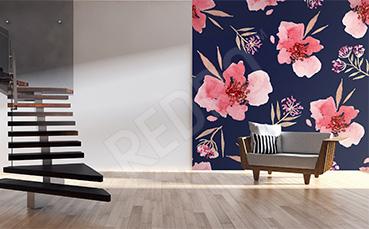Fototapeta w kwiaty wzór do przedpokoju