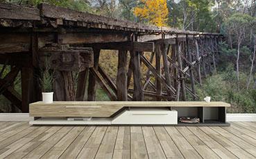 Fototapeta widok z drewnianym mostem