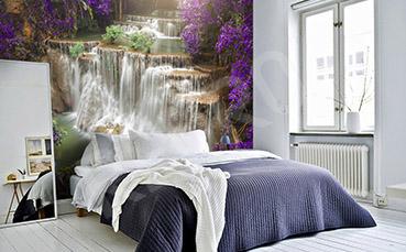 Fototapeta wodospad i kwiaty