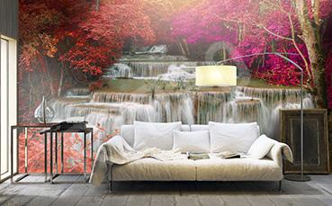 Fototapeta wodospad jesienią