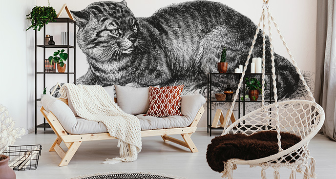 Fototapeta z kotem w prążki