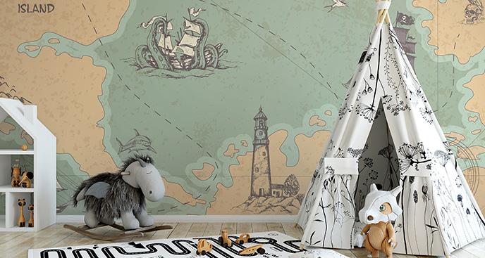Fototapeta z mapą skarbów dla dzieci