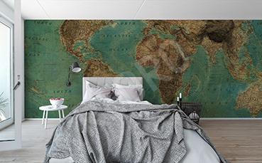 Fototapeta z mapą świata w stylu retro