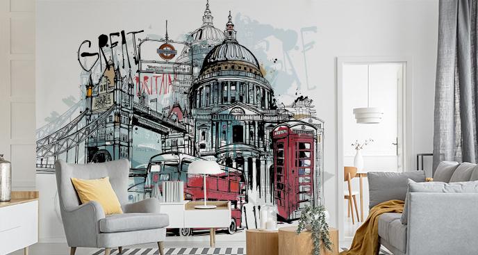 Fototapeta z symbolami Londynu