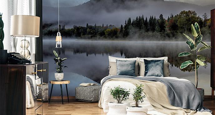 Fototapeta mglisty poranek w lesie