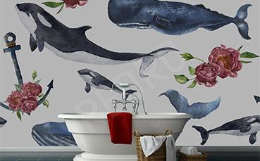Fototapeta z wielorybami do łazienki
