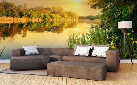 Fototapeta zachód słońca nad rzeką