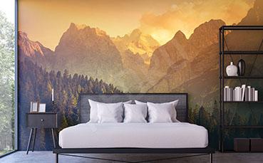 Fototapeta zachód słońca w Alpach