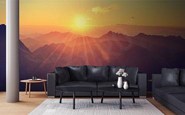 Fototapeta zachód słońca w górach