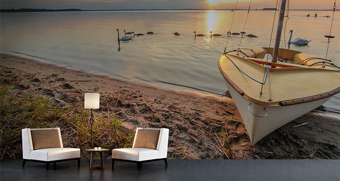 Fototapeta żaglówka nad jeziorem
