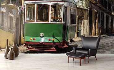 Fototapeta zielony tramwaj