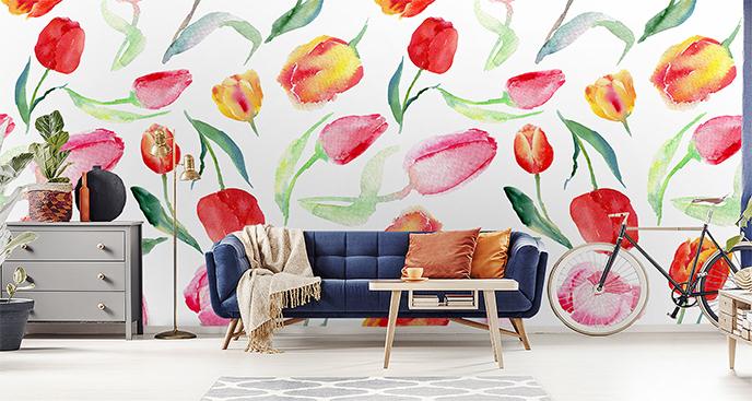 Fototapeta żółte i czerwone tulipany