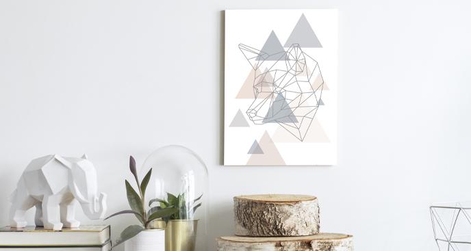 Geometryczny obraz z wilkiem