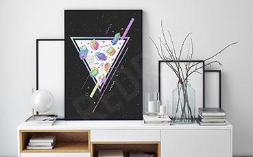 Geometryczny plakat kosmos