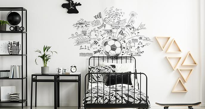 Naklejka z piłką nożną na ścianę